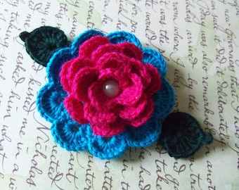 Red and Blue Crochet Flower Applique. Handmade Crochet Flower.