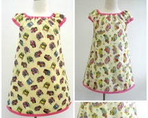 Girl's Peasant Dress, Girl's Reversible Peasant Dress, Volkswagon Campervan, VW Campervan, VW Beetle Mini, Girls Clothing, Kids Fashion