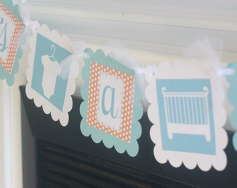 "Polka Dot ""Its a Girl"" or ""Its a Boy"" Crib Bodysuit Baby Shower Banner - Orange & Light Blue Dot - Party Pack Specials Available"