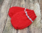 Newborn Merino Mittens, Red with & Grey Stripe - Ready to Ship