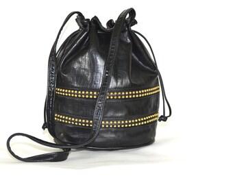 Black Leather Drawstring Bucket Bag / Vintage 90s Gold Studded Purse