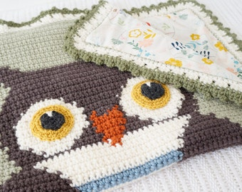 Baby Afghan Crochet Pattern, Woodland Nursery, Owl Blanket, Forest Decor, Sensory Blanket, Play Throw, Tummy Time, Picture Crochet,Graphghan