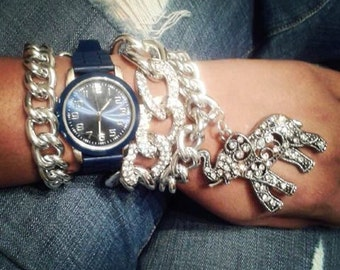 Silver chunky chain link bracelet