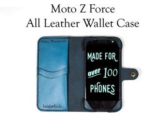 Moto Z Force Leather Wallet Case / Moto Z Force Case / Leather Phone Case / Wallet Phone Case