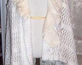 SALE........BoHo , Sweater Vest, Crochet Doily, White Sweater Vest, Romantic , Shabby Chic, Boho Festival