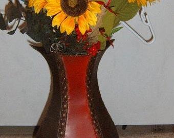 SALE, Sunflower Arrangement, Metal Vase, Fleur de Lis, Red and Black, Farmhouse, Country Decor, Sunflower,Large Arrangement