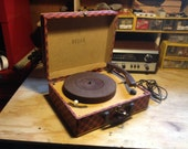 1950s Decca 4 Speed Record Player ,, very cool Fender Tweed and Plaid  totally restored, very cute and fun.
