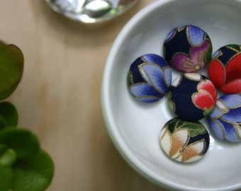 Handmade Fabric Covered Buttons - Mixed Set of 6 - 23mm - 7/8 inch - Red, Blue, Indigo and Gold Floral Handmade Fabric Buttons