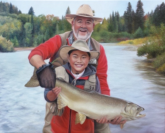 CUSTOM PORTRAIT - Custom Painting - Oil Painting - Photo to Painting - Fishing - Gift for Dad