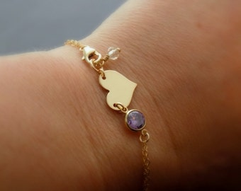 Gold heart bracelet, Amethyst CZ bracelet, 14kt gold bracelet initial, personalized gift, monogram bracelet, bridesmaids gifts, gift for mom