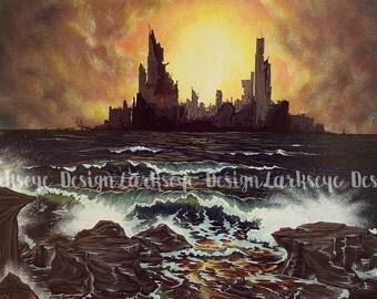 Ocean City Ruin Stretched Canvas Print Fantasy Artwork