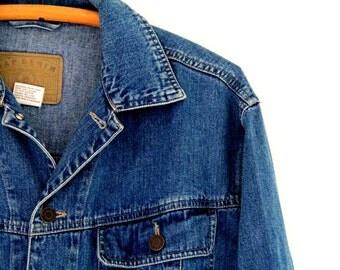 Vintage Mens Gap Denim Jean Jacket 100% Cotton Small 1990s