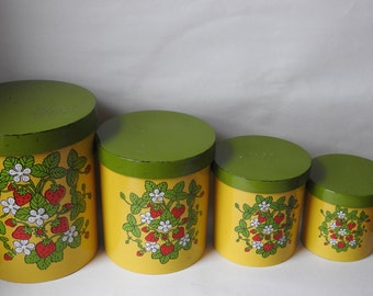 Vintage Yellow and Green Strawberry Kitchen Canisters