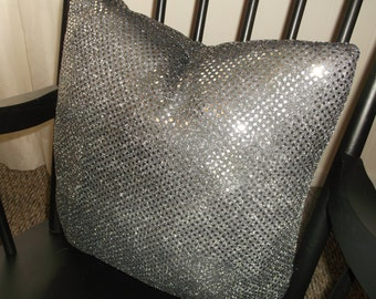 Sparkling Smokey Silver Accent Pillow, Shines Like A Silver Moon In December, Beautiful Stuffed Pillow, Soft Silver Black Accents Pillow