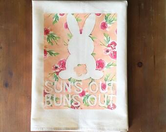 Sun's Out, Buns Out Flour Sack Tea Towel