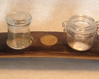Bourbon Barrel Relish Tray with Relish Containers.