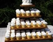 Rustic Cupcake Stand, Log Cupcake Stand, Tree Cupcake Stand, Rustic Wedding, Wood Cupcake Stand, Square Cupcake Stand, 4 Tier Cupcake Stand