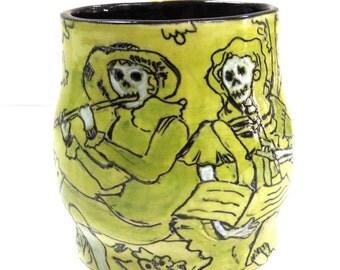 DAY of the DEAD - Mexican Folk Art Mug - Mishima Skeleton Couple Flute Player -  Inlaid Stoneware & Slip