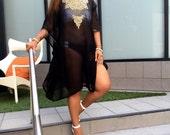 Black Embellished Sheer Caftan