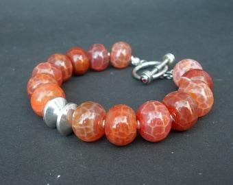 Fire Agate Red Orange Color Rondelle 14mm - 925 Sterling Silver Bracelet, Fire Agate Chunky Bracelet