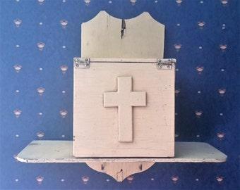 Folk Art homemade religious wood hanging prayer box storage shelf key holder