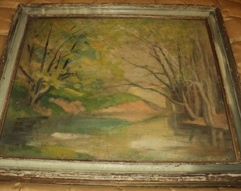 Antique Oil Painting on an Old Canvas Board, Ethereal Landscape Scene of a Bridge by a river's edge bank, Surreal Ethereal Style Art Work