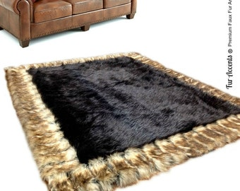 Desiger Fau Fur Area Rug - Rectangle - Soft - Thick Brown Cener With Brown Ribbed Fox Border - Fur Accents Designer Rugs and Throws USA