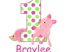 Woodland Forest Animals Girly Pink Birthday Number Digital Download Image for iron-ons, heat transfer, Scrapbooking, Cards,  DIY YOU PRINT