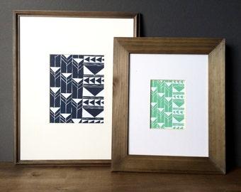 Linocut Print - Repeating Geometric Tribal Triangles 5 x 7 or 8 x 10 Block Print - 1-8005
