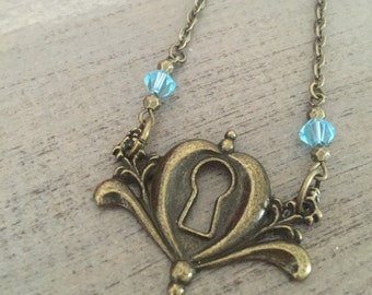 Cinderella Carriage Keyhole Necklace Pendant