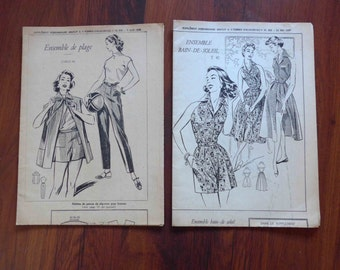 Beautiful LOT of Two 1950's French Patterns, Beach Suits