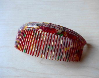 Amazing ! NOS French Vintage 1940's Galalithe and Rhinestones Hair Comb, Rare Colors