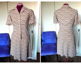 Beautiful French Vintage 1940s Does 1970s Fall Beige Printed Suit, Dress, Skirt - Size XS-S