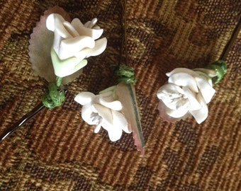Ivory Rose Hair Bobbies, Wedding Hair Pins, Rose Bobby Pins, Summer Bobbie Pins, Set of Three, Bridesmaids, Flowergirl Bobby Pins, Roses