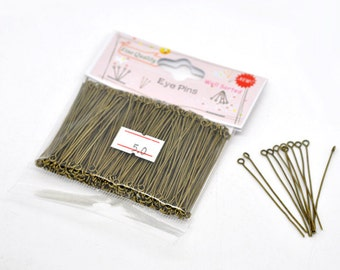 """300 Bronze Eye Pins - Antique - WELL SORTED - 0.7mm - 21 Gauge - 50mm - 2""""  - Ships IMMEDIATELY from California - F347"""