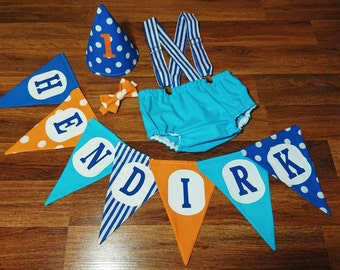 Blue Orange Baby Boy Birthday Banner & Smash Cake Outfit. Diaper Cover With Overall Suspenders Bow Tie and Hat Photo Props