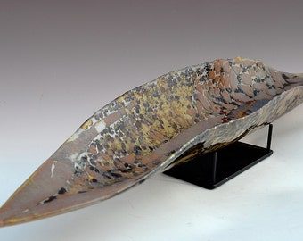 "Amphibian - Canoe Shaped Sculpture with Stand - 24"" long"