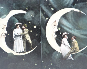 Antique 1907 German Spooning in the Moon Photograph Postcard