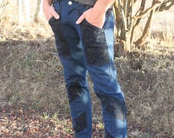Mens Sleek Blue & Black Stretch Denim Skinny Jeans