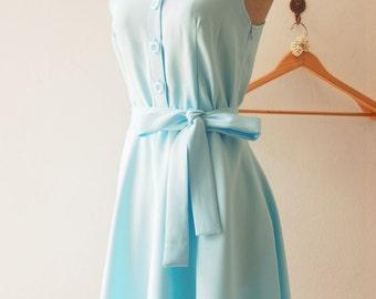 DOWNTOWN - Baby Blue Shirt Dress, Blue Bridesmaid Dress, Midi Dress Working Dress, 1950 Inspired Dress, Vintage Inspired Dress, XS-XL,Custom