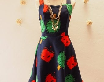 SALE -Bell Pepper Dress Tropical Navy Summer Casual Dress Vintage Inspired Dress Straps Sleeveless Cute Sundress Shorts Dress  -Size M