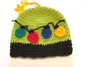Ready to ship 3-6 month crochet Christmas tree hat with bulbs.  Cute baby winter Christmas hat.