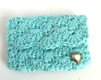 Crochet Business Card Case: Aqua  -  Business card holder.  Planner Accessories. Gift Card Holder. Coin case. Bridesmaids Gifts