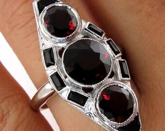 Art Deco 5ctw Red Garnet and Black Onyx Three Stone Antique Vintage Platinum Ring