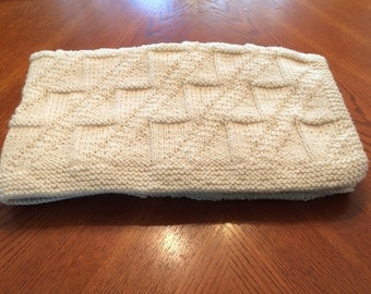 Off-White Afghan, Couch Throw or Baby Blanket
