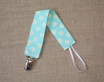 Blue and White Polka Dot Pacifier Clip