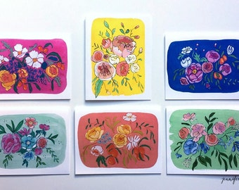 Assorted floral card set boxed notecards s/6