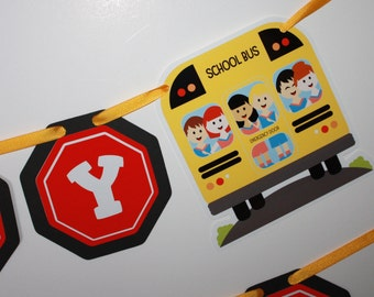 School Bus Banner, Happy Birthday Party Banner, Schoolbus, Wheels on the Bus, School Bus Birthday Party Decoration