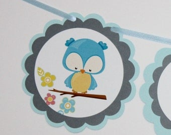 I AM ONE Banner, First Birthday Banner, 1st Birthday Party Banner, Blue Gray Owls Party Decorations Banner, Ready to Ship