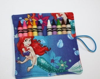 Crayon Rolls Party Favors, made from Ariel Mermaid fabric, holds 10 crayons, Birthday Party Favors